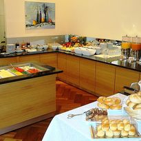 Large breakfast buffet in Hotel Fabrik