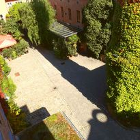The inner courtyard of Hotel Fabrik